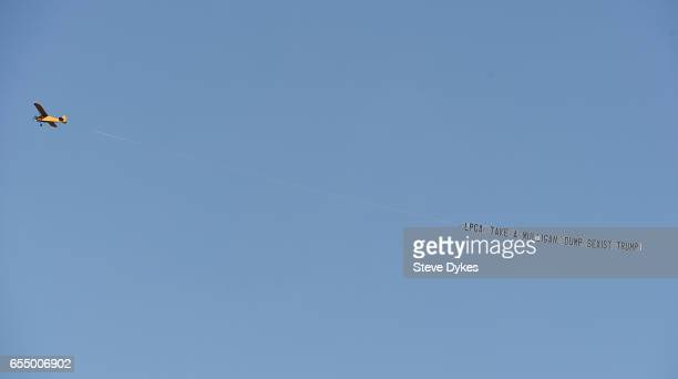 A plane tows a banner over the action during the the third round of the Bank of Hope Founders Cup at Wildfire Golf Club at the JW Marriott Desert...