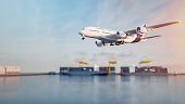 Plane trucks are flying towards the destination with the brightest.3d render and illustration.