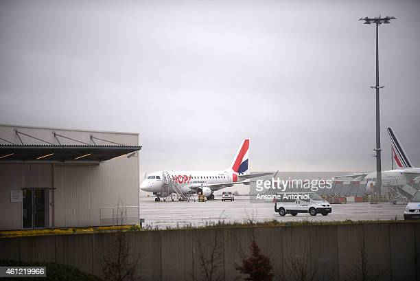 A plane waits on the tarmac at the 2G terminal at Charles de Gaulle Airport on January 9 2015 in Paris France Charles De Gaulle airport is partly...