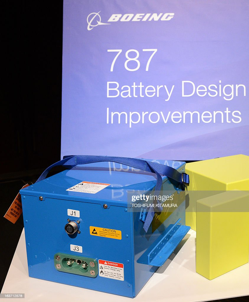 US planemaker Boeing displays an 'improved' 787 battery during a press conference in Tokyo on March 15, 2013. The grounded Dreamliner is 'absolutely' safe and will be back in the air within weeks, planemaker Boeing said in Japan, as it sought to reassure airlines and fliers about its aircraft.