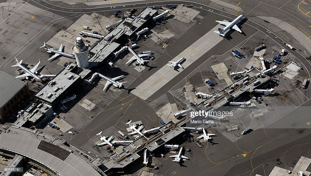 Planes are seen at LaGuardia Airport September 13 2009 in the Queens borough of New York City