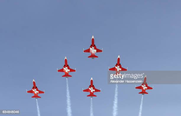 Planes fly over prior to the Women's Downhill during the FIS Alpine World Ski Championships on February 12 2017 in St Moritz Switzerland