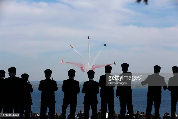 Planes fly over the Canakkale Matyrs' Memorial during a ceremony to mark the 100th anniversary of the Battle of Gallipoli on April 24 2015 in...