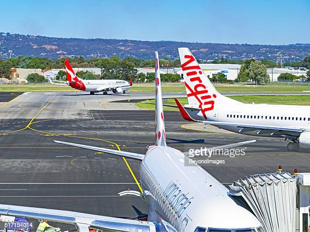 Planes from rivals Qantas and Virgin at Adelaide airport