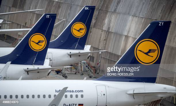 Planes of German airline Lufthansa are being parked on November 11 2015 at the airport in Frankfurt am Main western Germany A German court late...