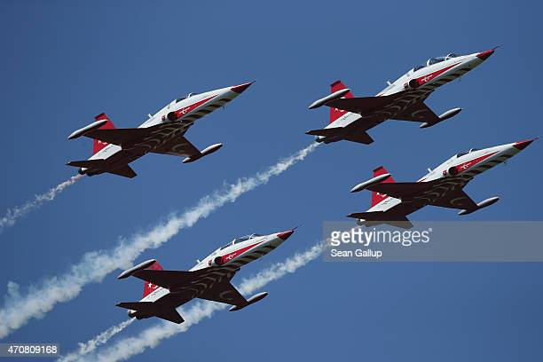 Planes of the Turkish air force fly in formation over Helles Point where Allied soldiers fought during the Gallipoli Campaign during rehearsals for...