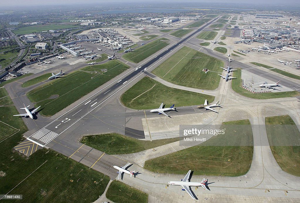 Planes queueing to take off at Heathrow airport in London, England.