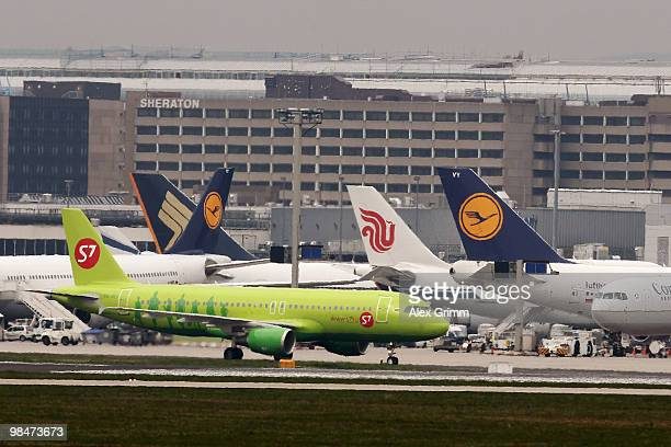 Planes stand in their positions at Frankfurt International Airport on April 15 2010 in Frankfurt am Main Germany Clouds of ash from a volcano...
