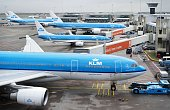 Planes wait for departure during a major power outage at Schiphol Airport on March 27 2015 near Amsterdam A massive power cut has caused chaos in...