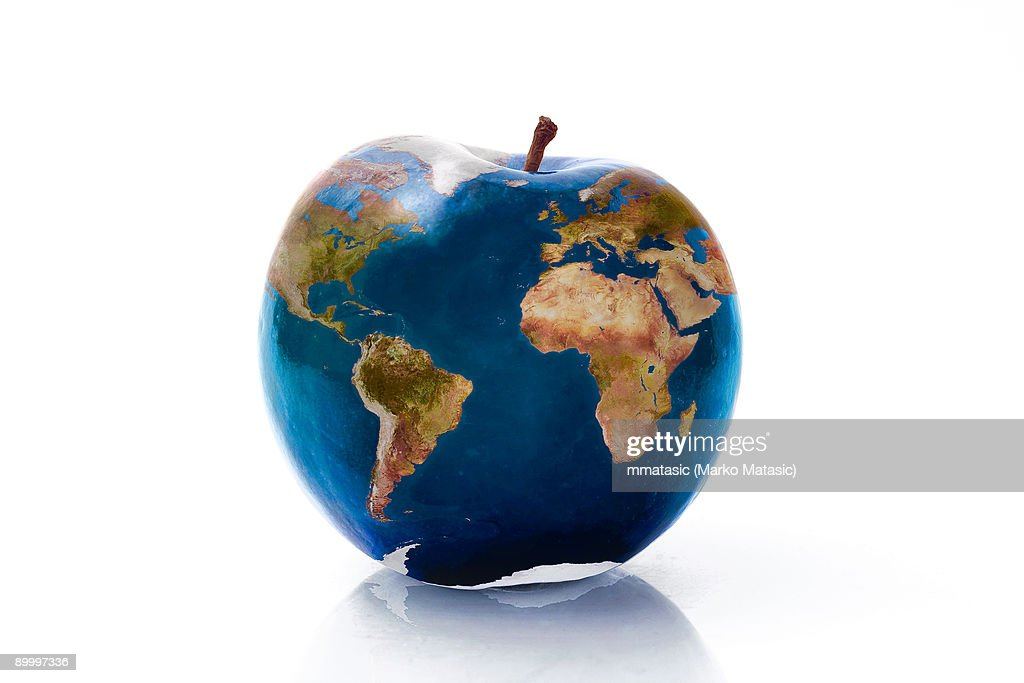 Planet Apple  Earth in a form of an apple : Stock Photo