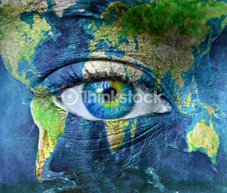 Planet earth and blue human eye : Stock Photo