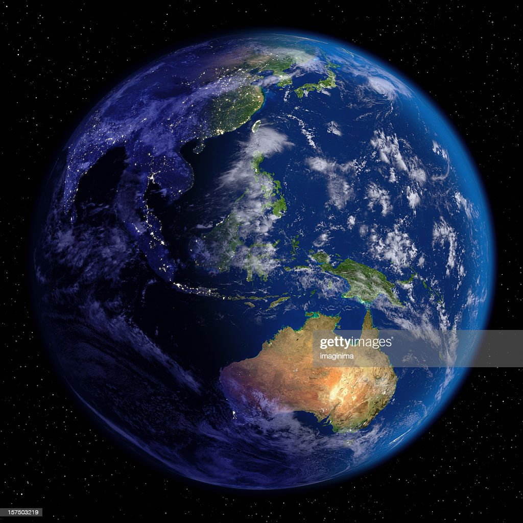 Planet Earth at Night & Day (Far East and Oceania) : Stock Photo