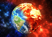 Planet Earth -  ecology concept, global warming concept, the effect of environment climate change. Elements of this image furnished by NASA (https://visibleearth.nasa.gov/)