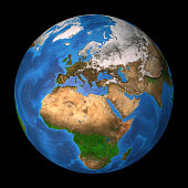 Realistic satellite view of planet Earth in high resolution, focused on Europe, Africa and Asia. 3D illustration (composed with Blender software), isolated on black. Elements of this image furnished b