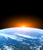 Planet Earth from the space with rising sun. Cosmic landscape.  Some elements of this image are furnished by NASA