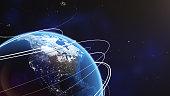 Closeup earth orbit. 3d illustration. Globe background.
