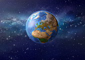 Imaginary view of planet Earth in deep space, focused on Europe, Asia and Africa - 3D illustration. Elements of this image furnished by NASA (http://eoimages.gsfc.nasa.gov/images/imagerecords/73000/73
