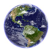 High resolution 3D render of the planet Earth isolated on white. Centered on the Americas.