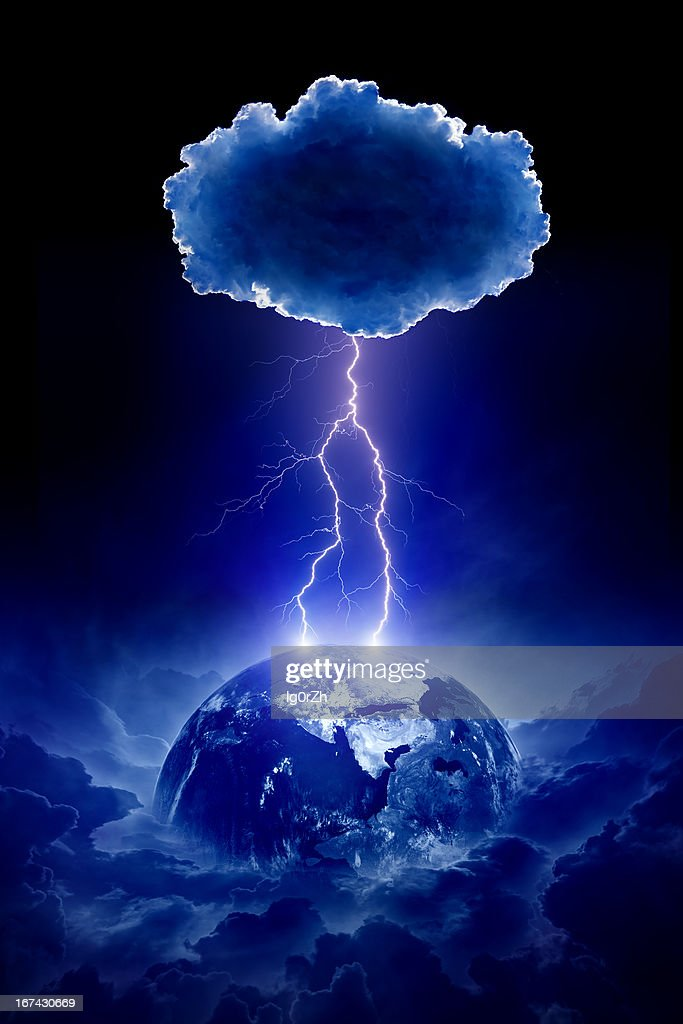 Planet Earth struck by lightning : Stock Photo