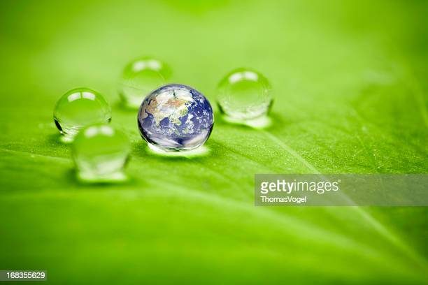 Planet earth waterdrop leaf. Asia Water Green Drop Globe Environment