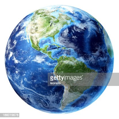 Planet Earth with some clouds. America's view. : Stock Photo