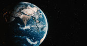 Real Planet Earth with star backgrounds