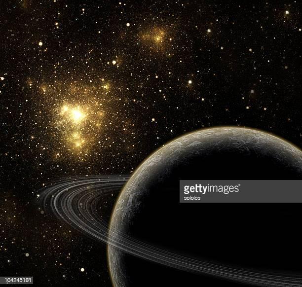 Planeten, Sternen und gold-Nebel