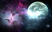 Planets and galaxies, science fiction wallpaper. Beauty of deep space. Billions of galaxies in the universe Cosmic art background
