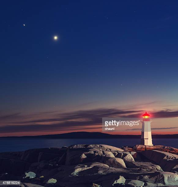 Planeten mit Peggy's Cove Lighthouse