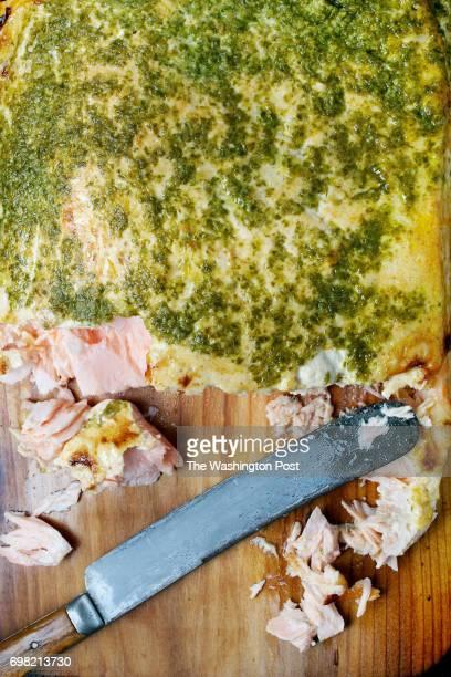 WASHINGTON DC Planked Salmon With Smoky Orange Aioli and Salsa Verde photographed in Washington DC