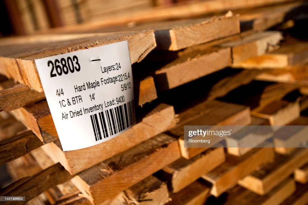 Planks of cut hard maple sit to dry in bundles at Superior Hardwoods of Ohio Inc in Barlow Ohio US on Thursday May 10 2012 Superior Hardwoods of Ohio...