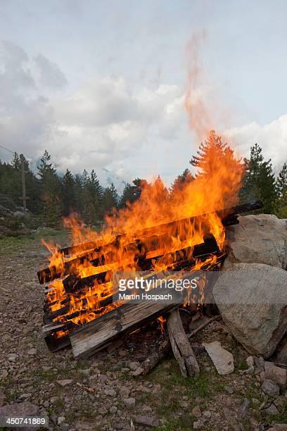Planks of wood burning in a big bonfire
