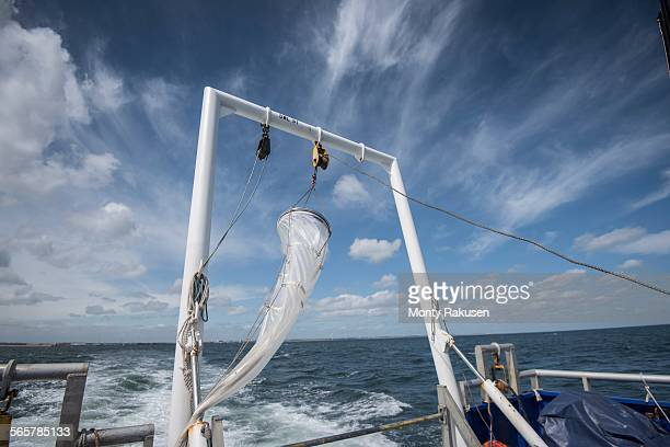 Plankton net hanging on stern of research ship