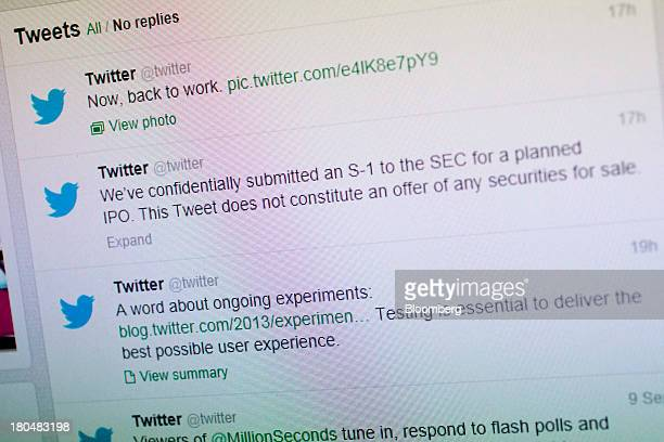 A planned initial public offering tweet is seen on the Twitter Inc homepage displayed for a photograph in Washington DC US on Friday Sept 13 2013...