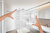 Planned renovation of a luxury bathroom estate home shower