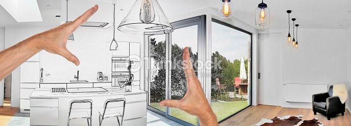Geplante Renovierung aus einem modernen Luxus-Wohnzimmer : Stock-Foto