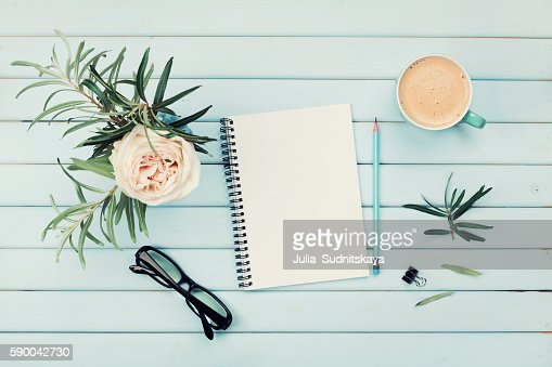 Planning and design concept. Cozy breakfast. Flat lay styling. : Stock-Foto