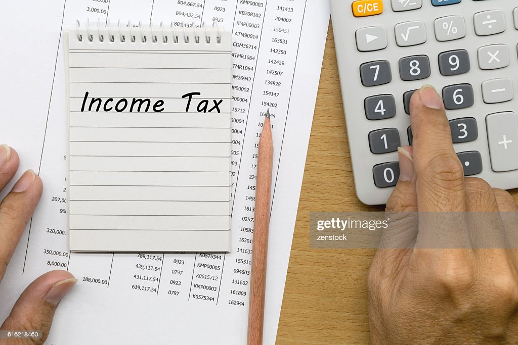 Planning monthly income tax : Stockfoto