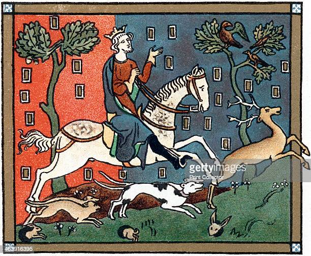 A Plantagenet king of England out hunting The king depicted is possibly King John Chromolithograph after a medieval manuscript