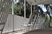 Rustic Porch In Florida With Rocking Chairs