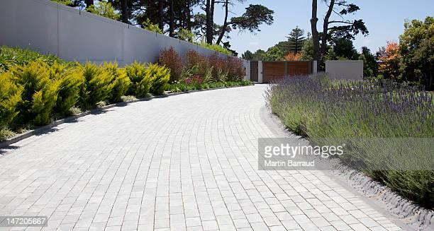 Pflanzen entlang der gepflasterten Auffahrt