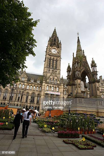 Plants are displayed in front of the Town Hall on June 17 2008 in Manchester England Manchester Town Hall located in the heart of the city has many...