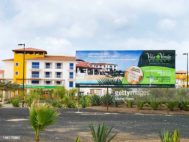 Plants grow near a construction site for hotels and apartments to house European and mainland African tourist on May 15 2012 in Sal Rei Cape Verde...