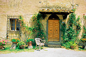 Plants growing outside a wooden door of a house, Tuscany, Italy