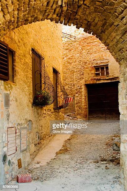 Plants in window boxes, San Gimignano, Siena Province, Tuscany, Italy