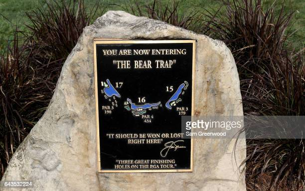 A plaque and statue commemorating 'The Bear Trap' as seen during a practice round prior to The Honda Classic at PGA National Resort Spa Champions...