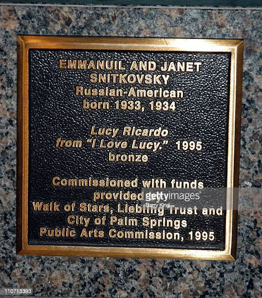 Plaque at Lucille Ball/'I Love Lucy' statue during Lucille Ball Bronze StatuePalm Springs at Palm Springs in Palm Springs California United States