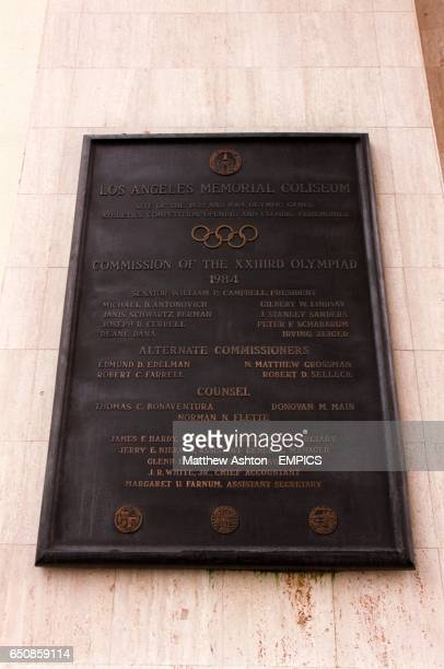 A plaque at the Los Angeles Memorial Coliseum venue for the Gold Cup Final commemorating the holding of the 1932 and 1984 Olympic Games therein