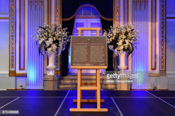 A plaque commemorating the Centennial birthday of the National Hockey League is unveiled during the NHL Centennial 100 Celebration at the Windsor...