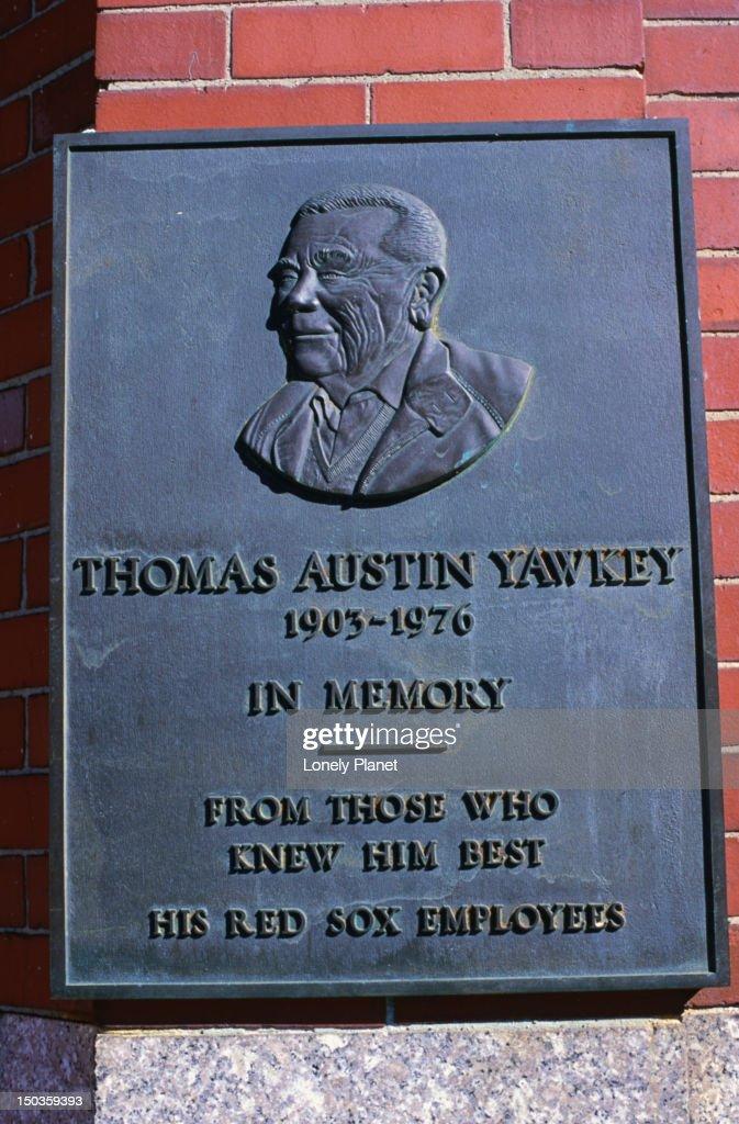 Plaque commemorating Thomas Austin Yawkley at Fenway Park, home to the Boston Red Sox baseball team, Boston. : Stock Photo